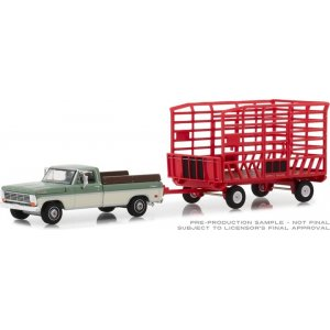 1969 Ford F-100 Farm & Ranch Special (Long Bed) with Bale Throw Wagon Solid Pack - Hitch & Tow Series 15 1:64