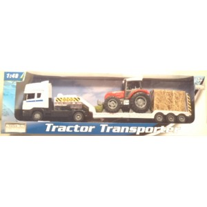 Platforma Scania alba cu tractor