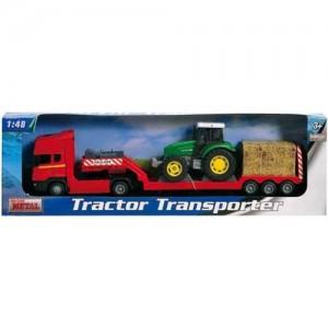 Platforma Scania rosie cu tractor