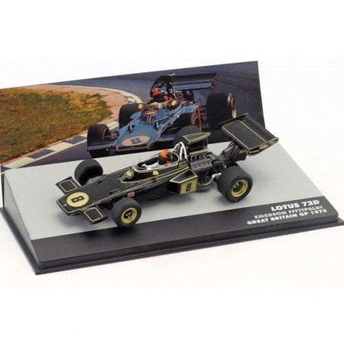 1972 Lotus 72D John Player Team Lotus #8 Emerson Fittipaldi Winner Great Britain Gp F1, Black/Gold 1:43