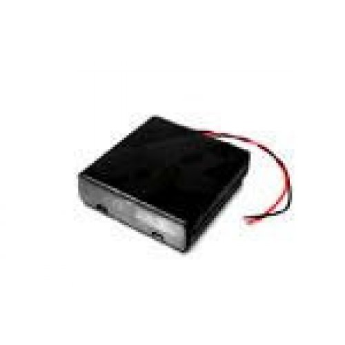 FLAT battery case for 4 R6/AA batteries with on/off switch