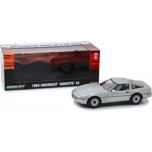 "1984 Chevrolet Corvette C4 - Silver Metallic - Vintage Ad Cars ""Best Production Sports Car in the World"" 1:18"