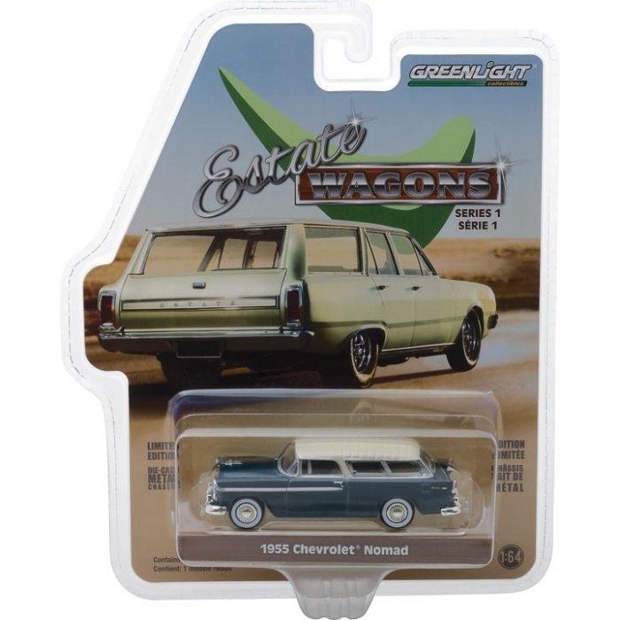 1955 Chevrolet Nomad - Glacier Blue and Shoreline Beige Solid Pack - Estate Wagons Series 1 1:64