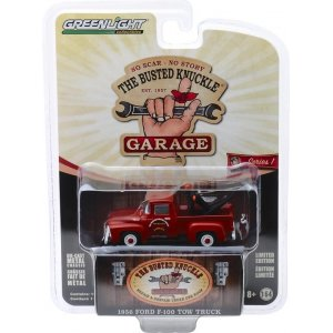 "1956 Ford F-100 Tow Truck ""Busted Knuckle Garage Parts & Service"" Solid Pack - Busted Knuckle Garage Series 1 1:64"