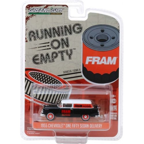 Macheta Greenlight, Running on Empty Series 8 - 1955 Chevrolet One Fifty Sedan Delivery - FRAM Oil Filters Solid Pack 1:64