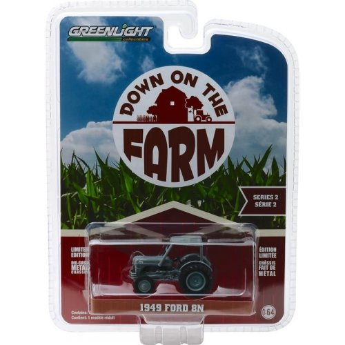 1949 Ford 8N Tractor - Grey with Cab Solid Pack- Down on the Farm Series 2 1:64
