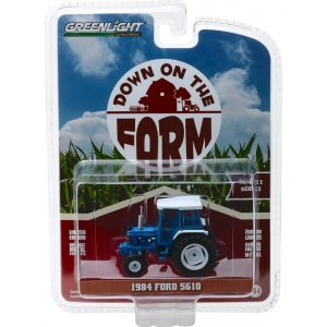 1984 Ford 5610 Tractor - Blue and Black with Enclosed Cab Solid Pack - Down on the Farm Series 2 1:64