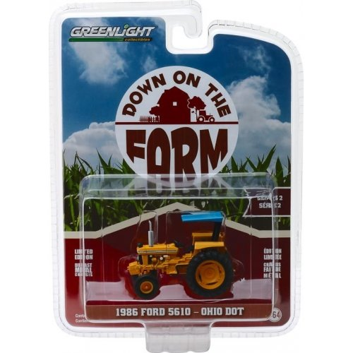 1986 Ford 5610 Tractor - Yellow and Blue Ohio Department of Transportation (DOT) Solid Pack - Down on the Farm Series 2 1:64
