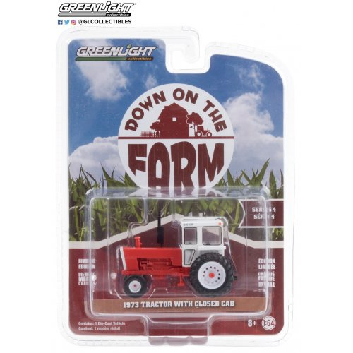 Down on the Farm Series 4 - 1973 Tractor with Closed Cab - Red and White Solid Pack 1:64