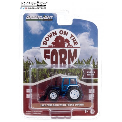 Down on the Farm Series 4 - 1982 Ford 5610 Tractor with Front Loader - Blue and Black Solid Pack 1:64