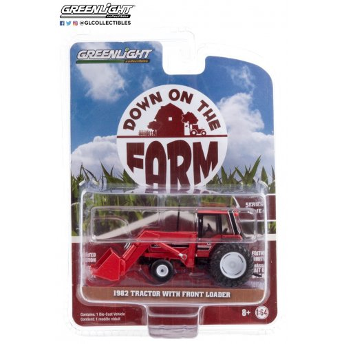Down on the Farm Series 4 - 1982 Tractor - Red and Black with Front Loader and Dual Rear Wheels Solid Pack 1:64