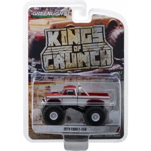 1979 Ford F-250 Monster Truck - Maroon with White Stripes Solid Pack - Kings of Crunch Series 1 1:64
