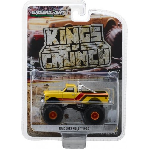 1972 Chevrolet K-10 Monster Truck - Yellow, Orange, Red and Brown Solid Pack - Kings of Crunch Series 1 1:64