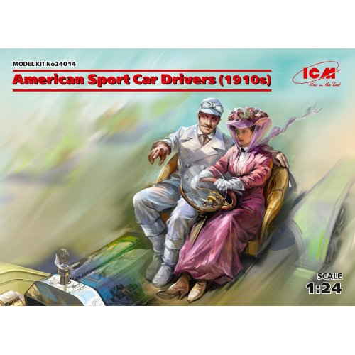 1:24 American Sport Car Drivers  (1910s) (1 male, 1 female figures)  (100% new molds) 1:24