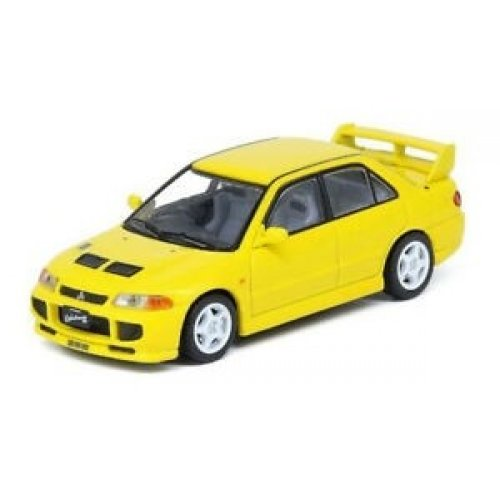 1995 Mitsubishi Lancer Evolution III, Yellow With Seperate Bonnet Carbon Decals And Extra Set 1:64