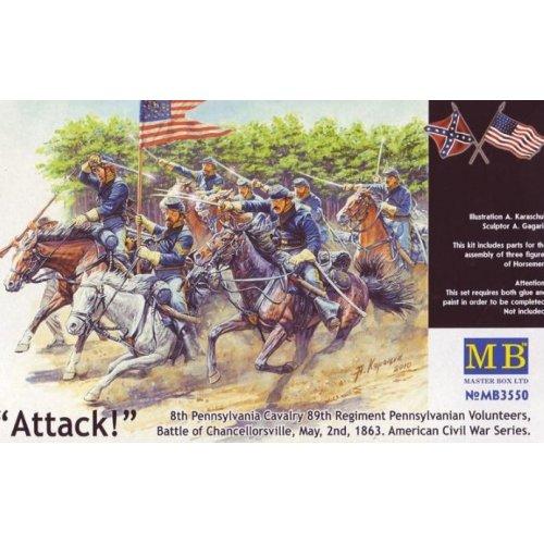 1:35 8th Pennsylvania Cavalry, 89th Regiment Pennsylvanian Volunteers, Battle of Chancellorsville, May, 2nd, 1863. American Civil War Series. Attack! - 3 figures 1:35