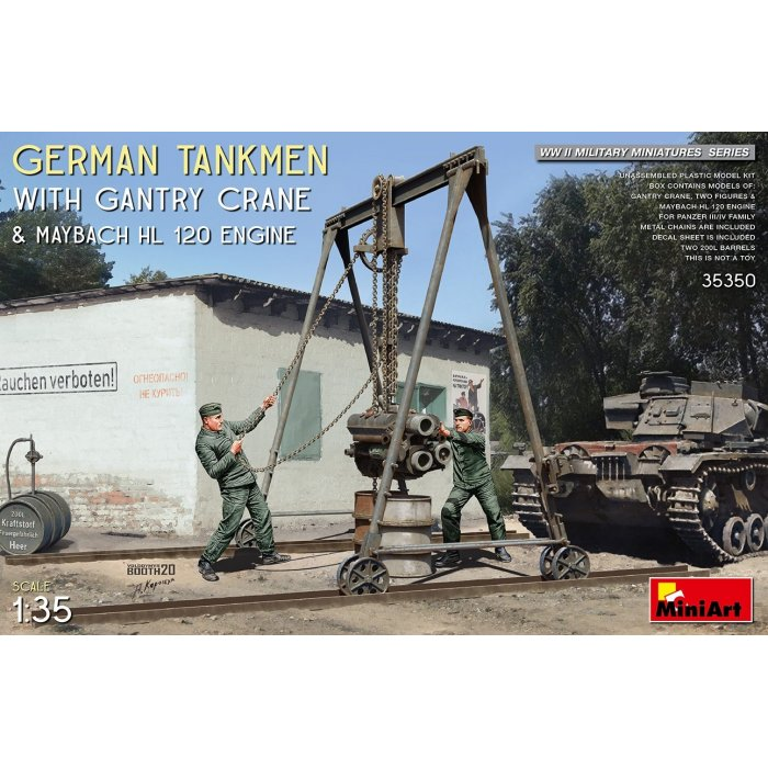 1:35 German Tankmen with Gantry Crane & Maybach HL 120 Engine 1:35