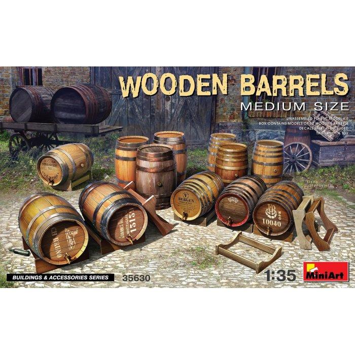 1:35 Wooden Barrels. Medium Size 1:35