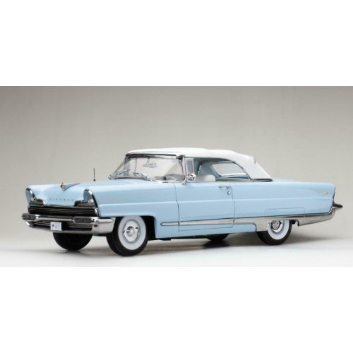 1956 Lincoln Premiere Closed Convertible Fairmount Blue and White 1:18