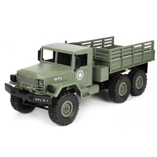 Camion militar cu telecomanda WPL B-16 (1:16, 6x6, 2.4G, LiPo, autonomie 40 min) - verde